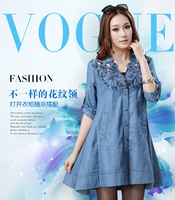 Plus Size Women Clothing 2015 Slim Hollow Out Floral Denim Half Sleeve Dress Female Spring Summer