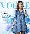 Плюс размер женская одежда 2015 тонкий выдалбливают цветочные джинсовой половины рукав платья женские весна лето случайные свободные пуловеры платья
