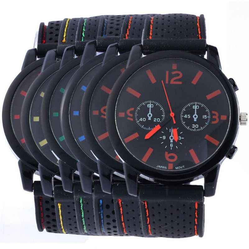 Quartz Casual Cool Big Dial Silicone Strap Sports Style Men Watch Accurate Adult