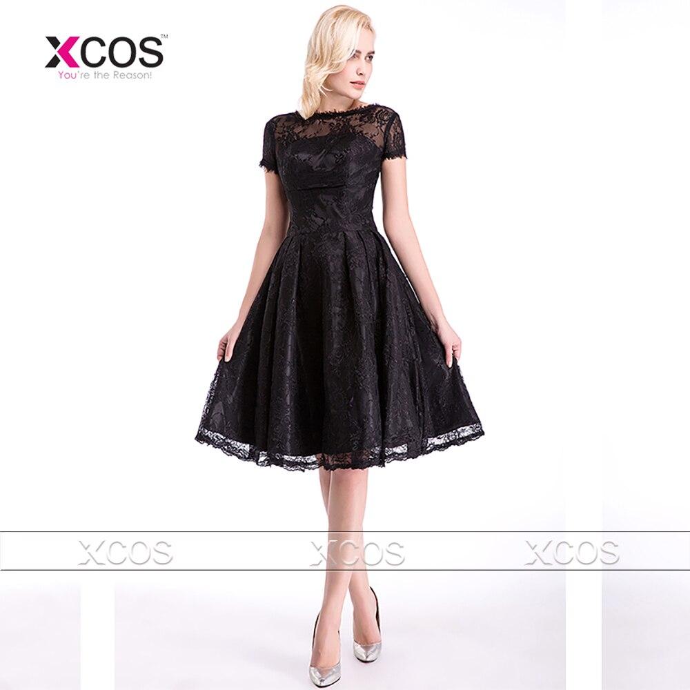 Black dress bridesmaid - Vintage Lace Black Bridesmaid Dresses Knee Length Short Wedding Guest Dress V Back Brautjungfernkleid Sa278