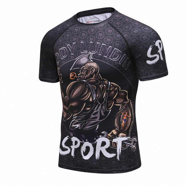 2019 جديد ضغط قميص Rashguard قصيرة الأكمام ثلاثية الأبعاد طباعة BJJ جيو جيتسو تي شيرت الرجال MMA اللياقة البدنية كمال الاجسام القمم