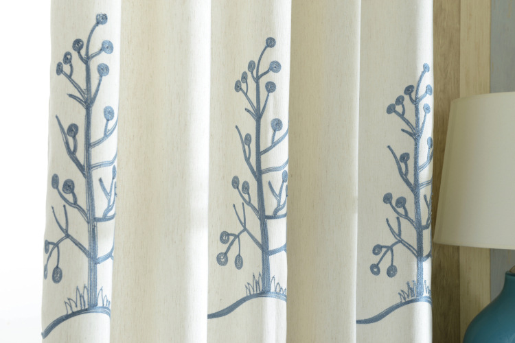 Towel Embroidered Quality Chinese Curtains Linen Tree Window Curtain ...
