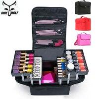 DIREWOLF Makeup Bag Multilayer Clapboard Cosmetic Bag Case For Cosmetics Large Capacity Travel Shoulder Make Up Bags Suitcases