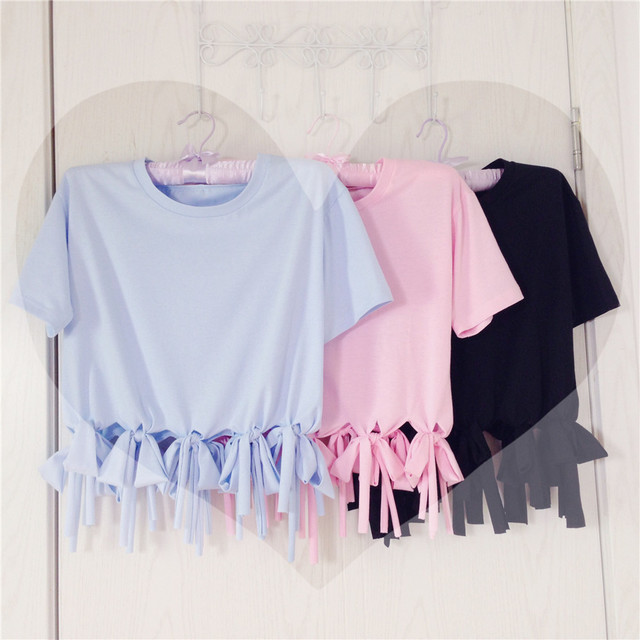 Japaness Style Women's Tassel Short Sleeve T Shirt Cute Comfortable Causal Tee Loose Bow Tops 3 Colors: Baby Blue Pink Black by Neko Para