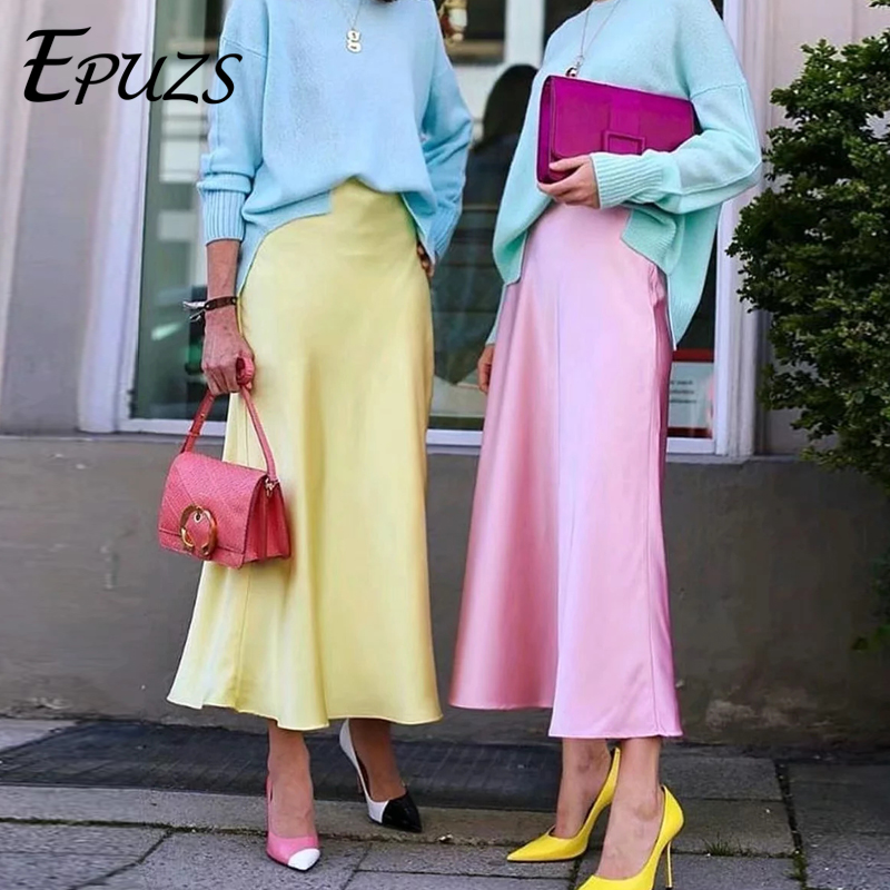 Vintage High Waist Skirts Womens Summer Midi Skirt Streetwear Korean Jupe Femme Casual Boho Yellow Satin Skirt 2019
