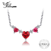 JewelryPalace 1 85 Ct Created Ruby Heart Pendant Necklaces Long 42 45 48cm Adjustable 925 Sterling