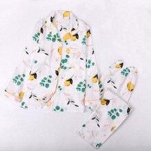 Frühling Und Herbst Neue Cartoon Mango Gedruckt Damen 100% Gaze Baumwolle 2 Stück Pyjamas Set Langarm Baumwolle Haushalt Kleidung