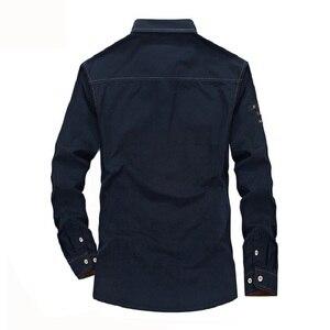 Image 5 - Plus Size S XXXXL 5XL Brand 100% Cotton Long Sleeve Denim Shirts Men Army Green Militray Casual Camiseta Masculina A3056