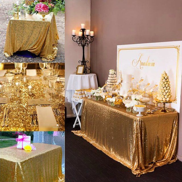 Wholesale 5PCS 90inx132in Gold Sequin Tablecloth, 6FT Wedding Tablecloth,  Silver/Gold Glitter Tablecloth