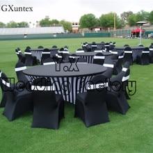 Черно-белый напечатанный лайкры чехол для стола из спандекса для украшение для свадьбы