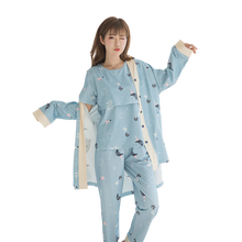 8221# 3PCS/Sets Printed Cotton Maternity Nursing Pajamas Fashion Nightwear Home Wear for Pregnant Women Pregnancy Sleepwear Suit(China)