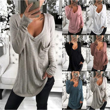 2019 Spring Women T-shirt Casual Solid Color Depp -V Neck Design Long Sleeve Shirt Basic Top(China)