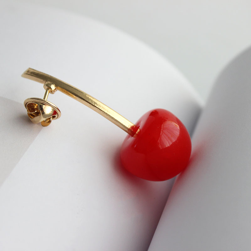 SANSUMMER 2019 New Style Resin Material Simple Cartoon Lovely Fashionable Sweet Fruits Red Cherry Brooch Overcoat Needle 5771 in Brooches from Jewelry Accessories