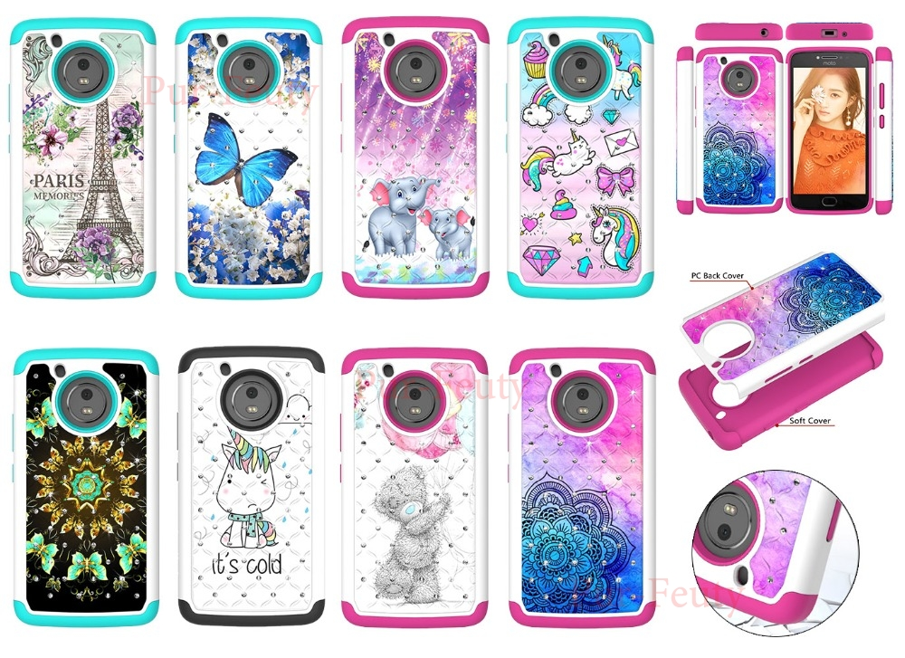 <font><b>Cases</b></font> For <font><b>Moto</b></font> G5 XT1672 XT1676 Luxury 3D Diamond 2 in 1 PC+TPU Cellular Shockproof Silicone for <font><b>Moto</b></font> <font><b>E4</b></font> XT1762 XT1767 <font><b>XT1761</b></font> image