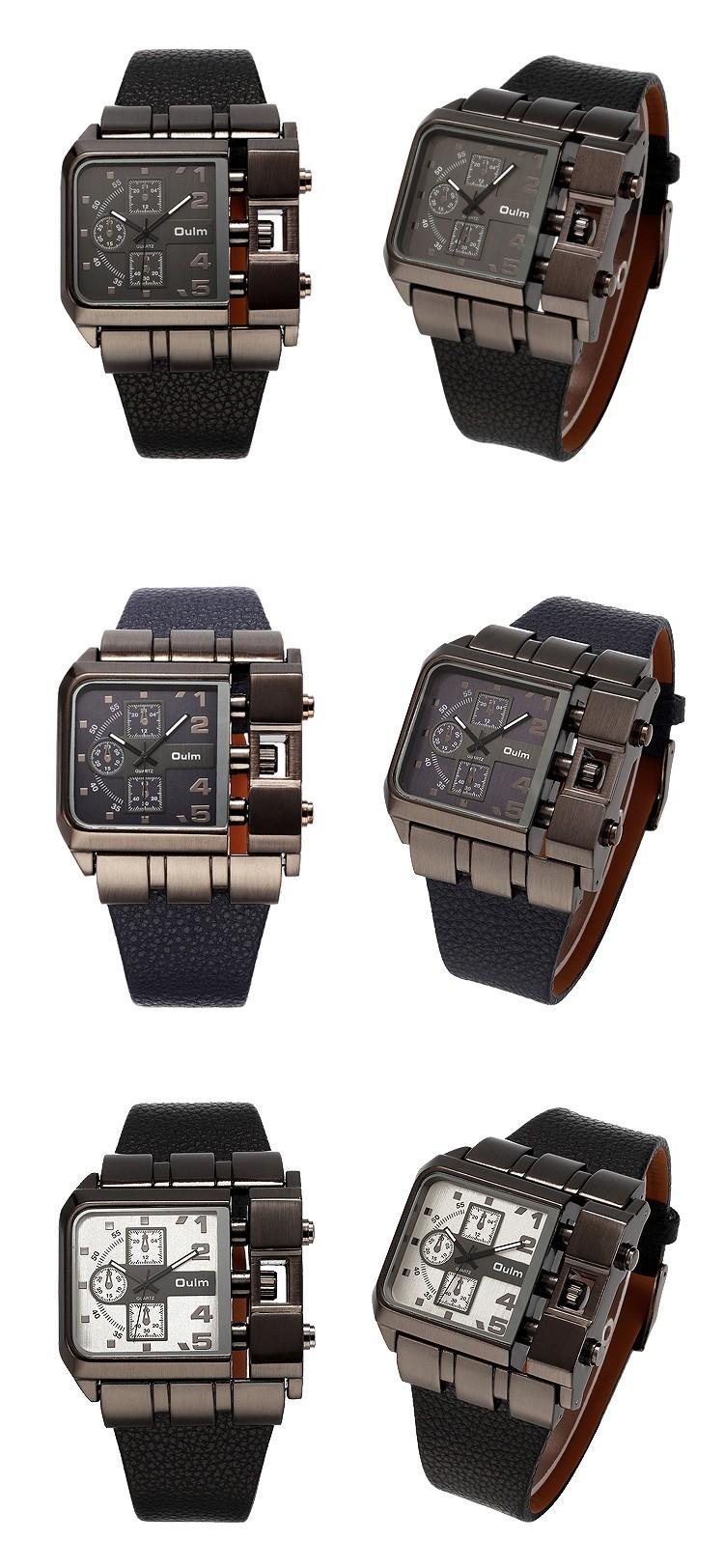 Topdudes.com - Original Unique Rectangle Design Wide Dial Leather Strap Quartz Wristwatch for Men