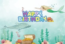 Laeacco Undersea World Mermaid Baby Birthday Party Photography Backgrounds Customized Photographic Backdrops For Photo Studio