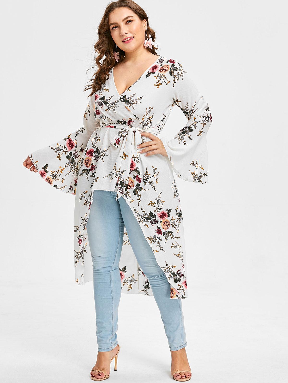 670f62e1fc3 Wipalo Plus Size 4XL Flower Bell Sleeve Blouse Women V Neck Long Sleeve  Long Tops Blouses
