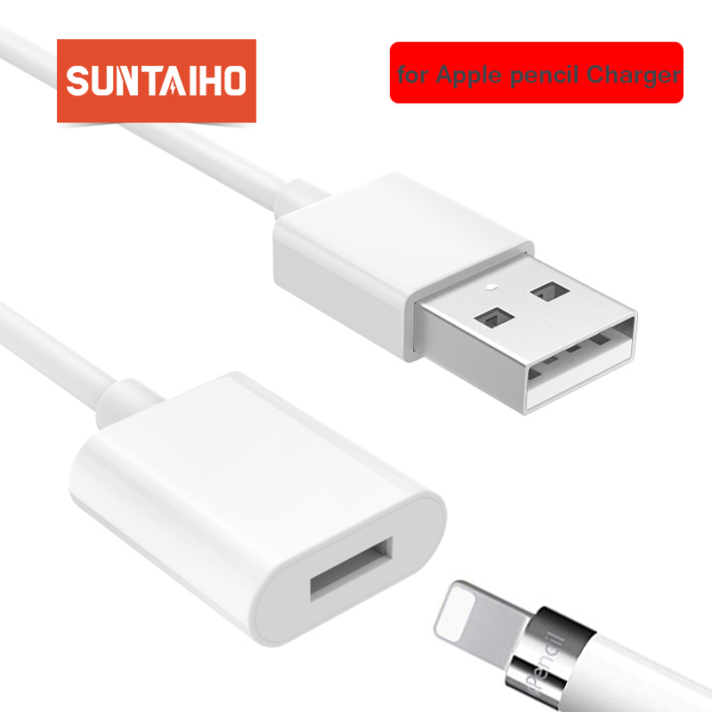 Suntaiho, carregador para apple pencil, adaptador, cabo de carregamento para apple ipad pro, lápis, stylus macho para fêmea, extenso usb cabo de cabo