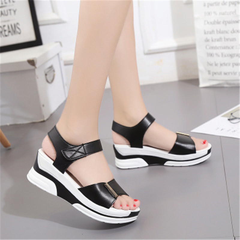 WADNASO Hot Sale European Women Summer Shoes Slingbacks High Heels Sandals Platform Casual Shoes for Party 2019 new Black White in High Heels from Shoes