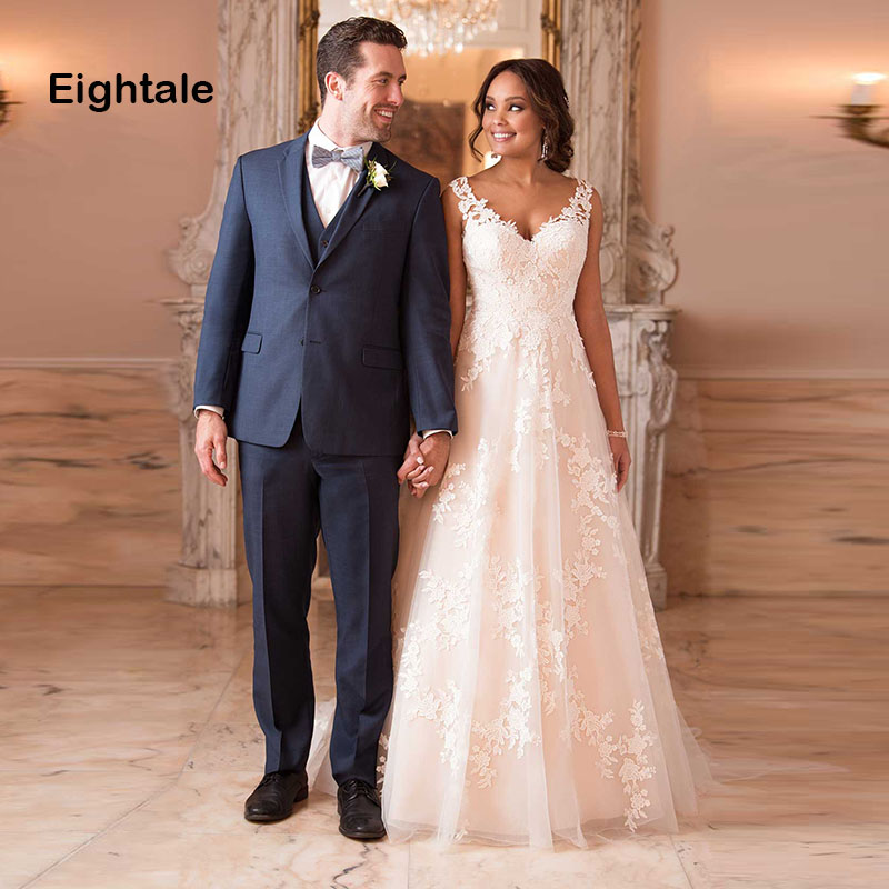 9836a4578af06 Eightale Wedding Gowns 2019 V Neck Appliques Lace Princess Romatic ...