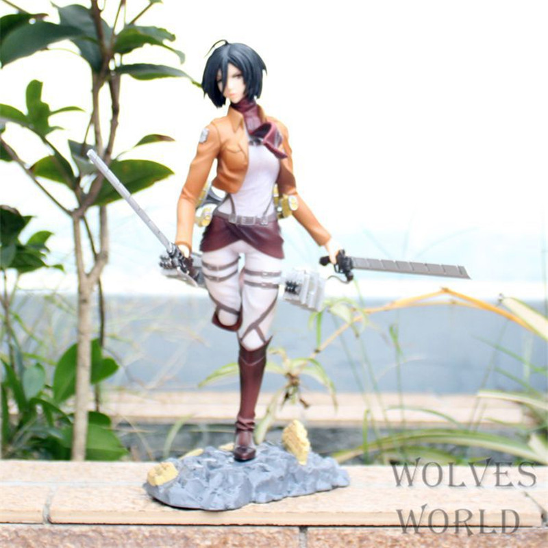 WVW 25CM Anime Attack on Titan Mikasa Ackerman Model PVC Toy Action Figure Decoration For Collection Gift lis 15cm attack on titan figma 203 mikasa ackerman 6 pvc action figure collection model toy