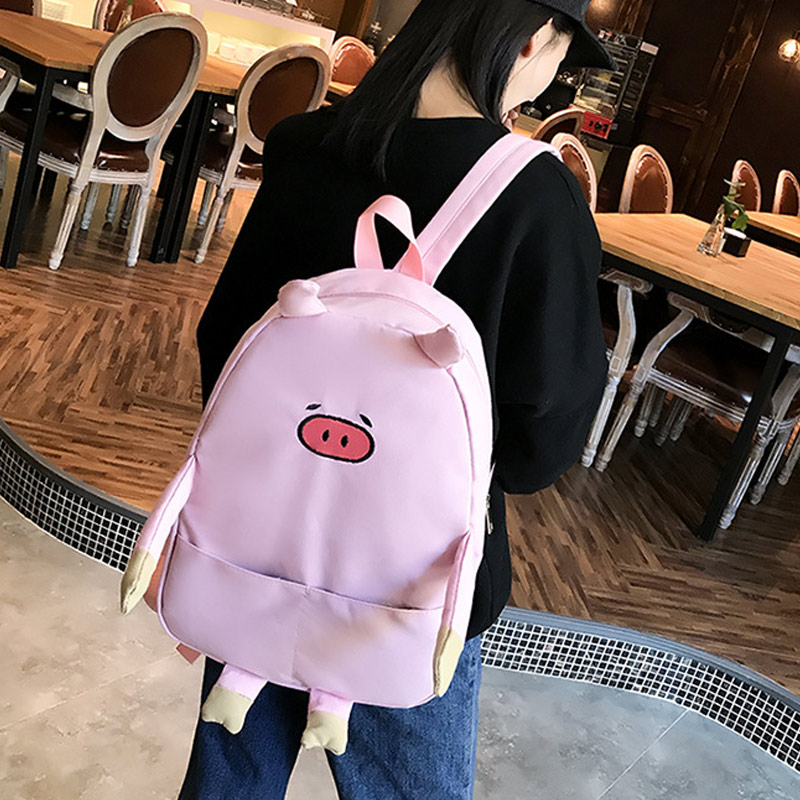 Casual Backpack Schoolbags Canvas Women Adorable Cartoon for Piggy Hot Cute