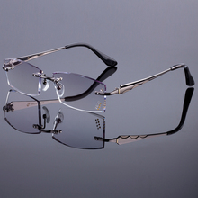 Fashionable Men Style Frame Women Titanium Alloy Optical Frame Diamond Trimming Cut Rimless Spectacles With Gradient
