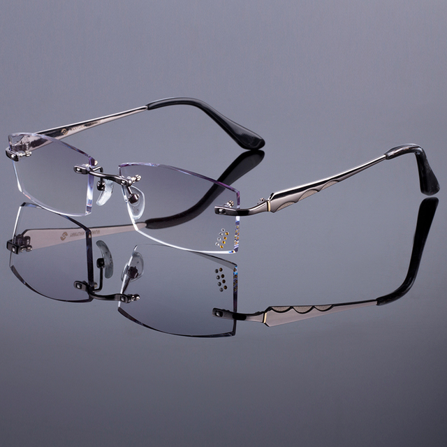 910b85f66bc Fashionable Men Style Frame Women Titanium Alloy Optical Frame Diamond  Trimming Cut Rimless Spectacles With Gradient