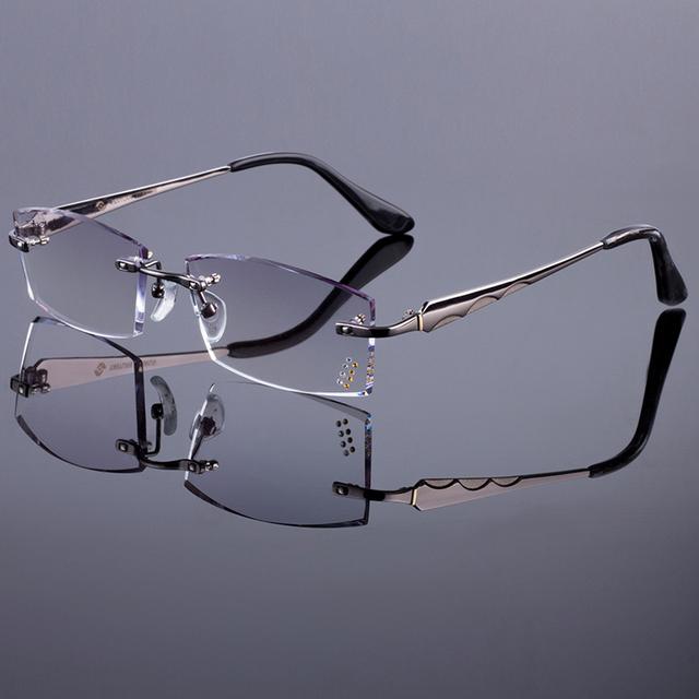 Moda estilo homens mulheres quadro titanium da liga frame ótico óculos sem aro de diamante corte corte com lentes gradiente matiz