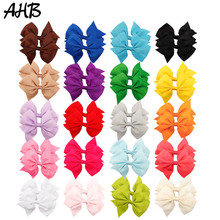 цена на AHB Hair Accessories 4 Inch Hair Clips Hair Bows for Baby Girls Good Quality Grosgrain Ribbon 40pcs/Lot Hairbows for Kids