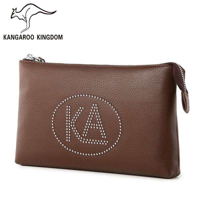 Kangaroo Kingdom Brand Men Bag Genuine Leather Handbag Rivet Decoration Men Clutch Bags цена