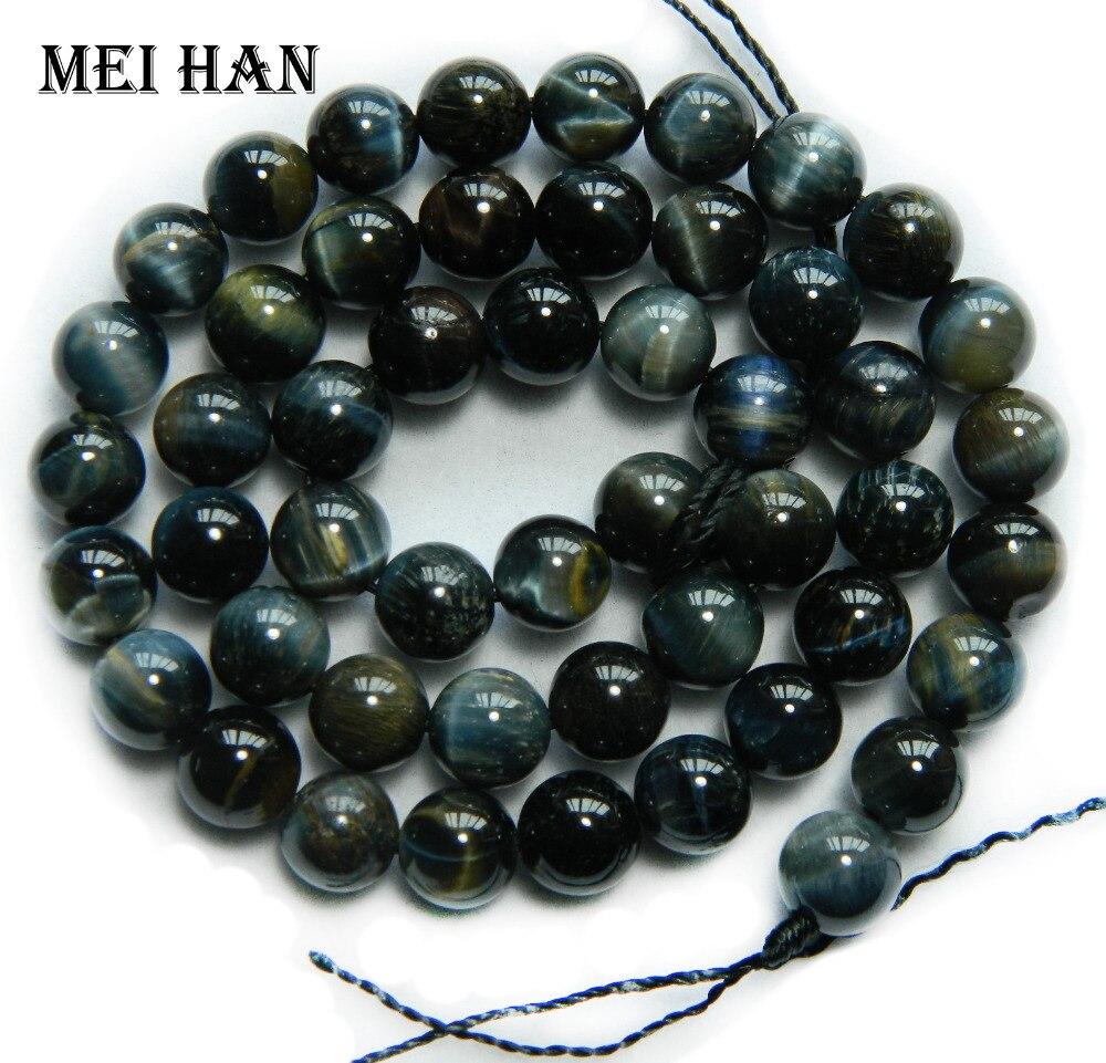 Round-Beads Eye-Stone Bracelet-Making DIY Natural Meihan for Design Hawk's Smooth 2strands/Set
