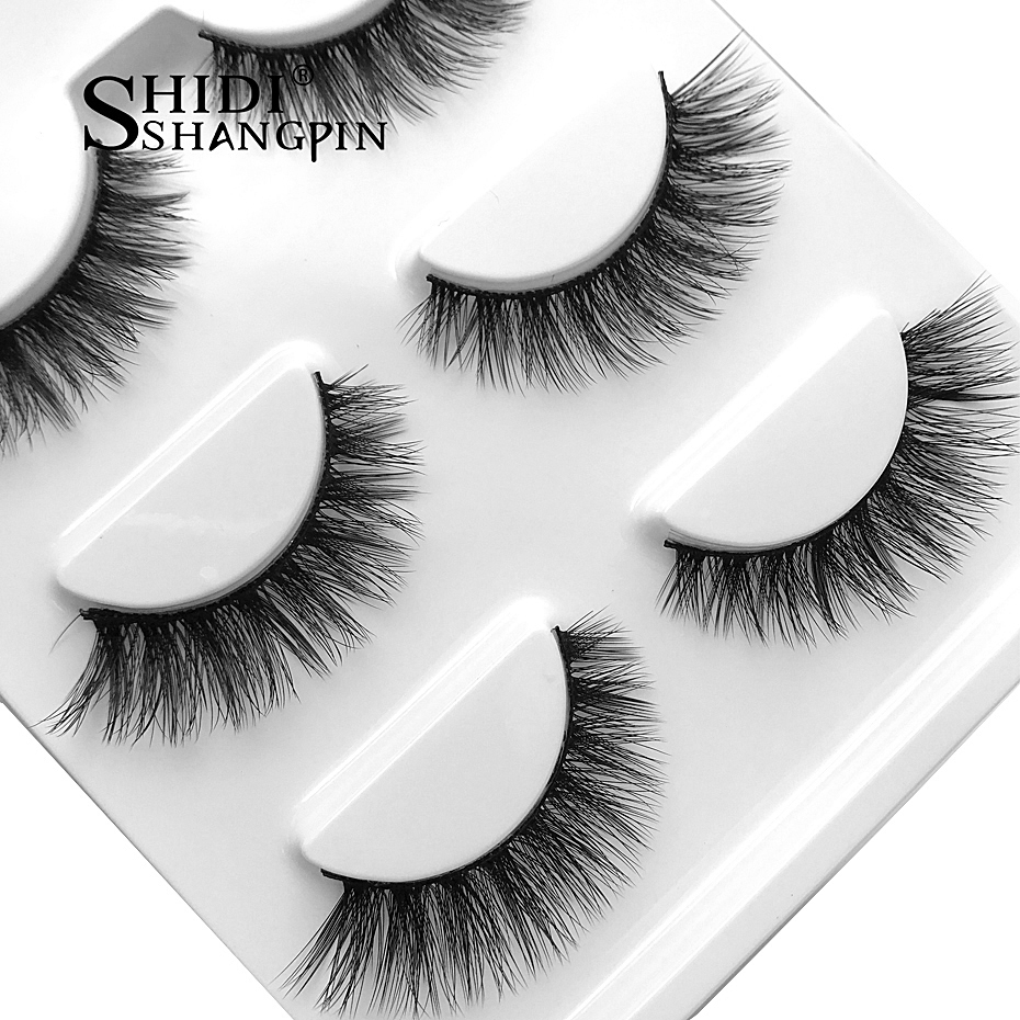 SHIDISHANGPING 3d mink eyelashes hand made makeup false eyelash natural long eyelash extension 1 box 3 pairs eyelashes X08