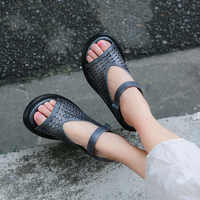 Vallu 2018 Women's Sandals Genuine Leather Open Toes Cut Out Ankle Strapy Handmade Vintage Summer Ladies Shoes Platform Sandals