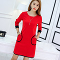 2016 Autumn Dress Red And Black Long-sleeved comfort Vestidos Women Dress Office Dress Casual Party Dress Ukraine~3611