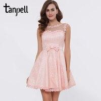 Tanpell Bateau Short Cocktail Dress Pink Above Knee Bow A Line Dress Cheap Sleeveless Lace Graduation