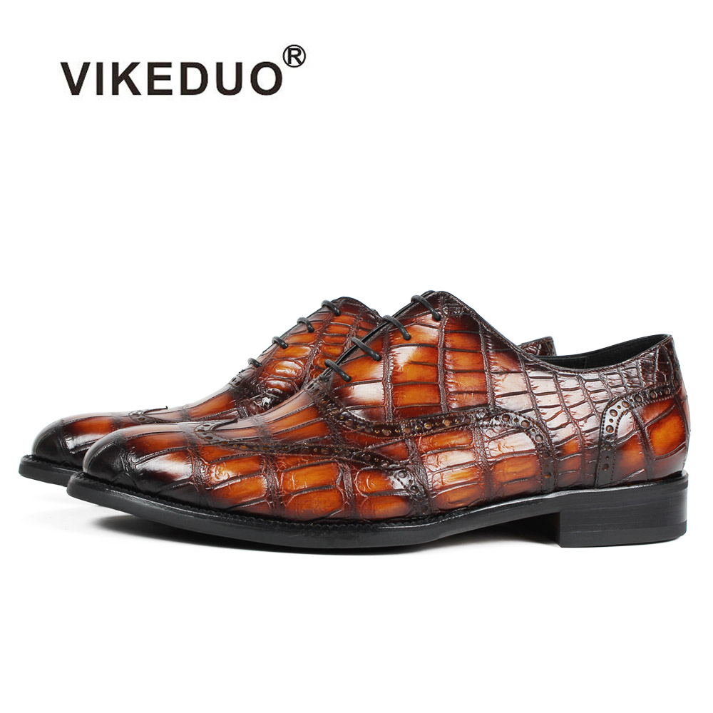Vikeduo 2019 Handmade Retro Designer Fashion Luxury Party Wedding Male Oxford Shoe Genuine Crocodile Leather Men Dress Shoes