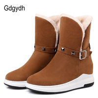 Gdgydh Plus Size Women Snow Boots Flat Heels Thickening Plush Rubber Sole Ladies Warm Shoes For