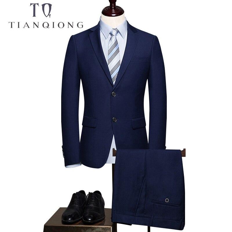 Тянь QIONG двух частей синий Бизнес Для мужчин костюмы лацканы отделка Подходит индивидуальный заказ свадебные смокинг для жениха 2018 (куртка +