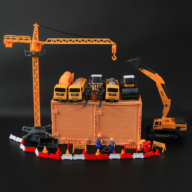 Engineering car set inertia toy car mining machine loaders mixer truck crane truck model boy children inertia toy car simulator ladder truck firetruck