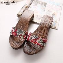 WHOHOLL Original Geta Japanese clogs Cosplay Kimono wooden geta Shoes Novelty Summer Sandals Women Wedges Indoor Slippers