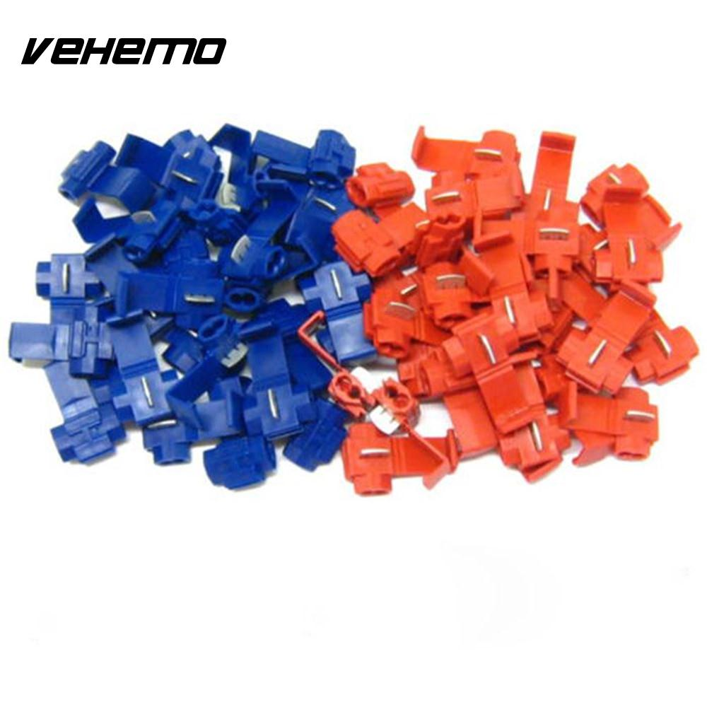 Vehemo Oem Useful 50pcs Red Blue Snap On Connector Crimp