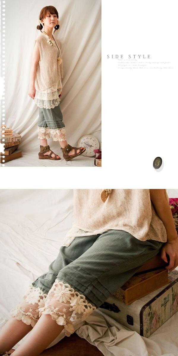 Dulce Pares Botón Bolsillo Princesa Lolita De Elástica Azul Cintura Decoraciones Encaje Cielo Fg153 Nueve Las Pantalones Multi Mujeres Algodón ZpHqpd
