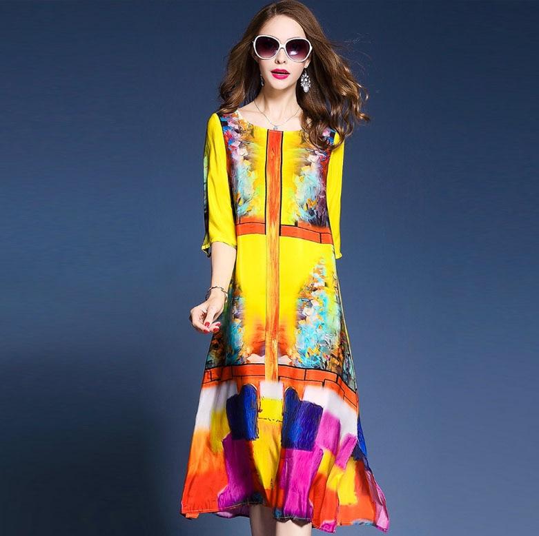 Western Fashion Floral Print Dresses Woman Half Sleeve Brand Vestidos Mujer 2018 Elegant Silk Dress Summer Spring Yellow M-3XL