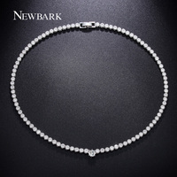 White Gold Plated 102pcs Small Round One 0 75 Carat Cubic Zircon Diamond Necklace Bridesmaid Jewelry