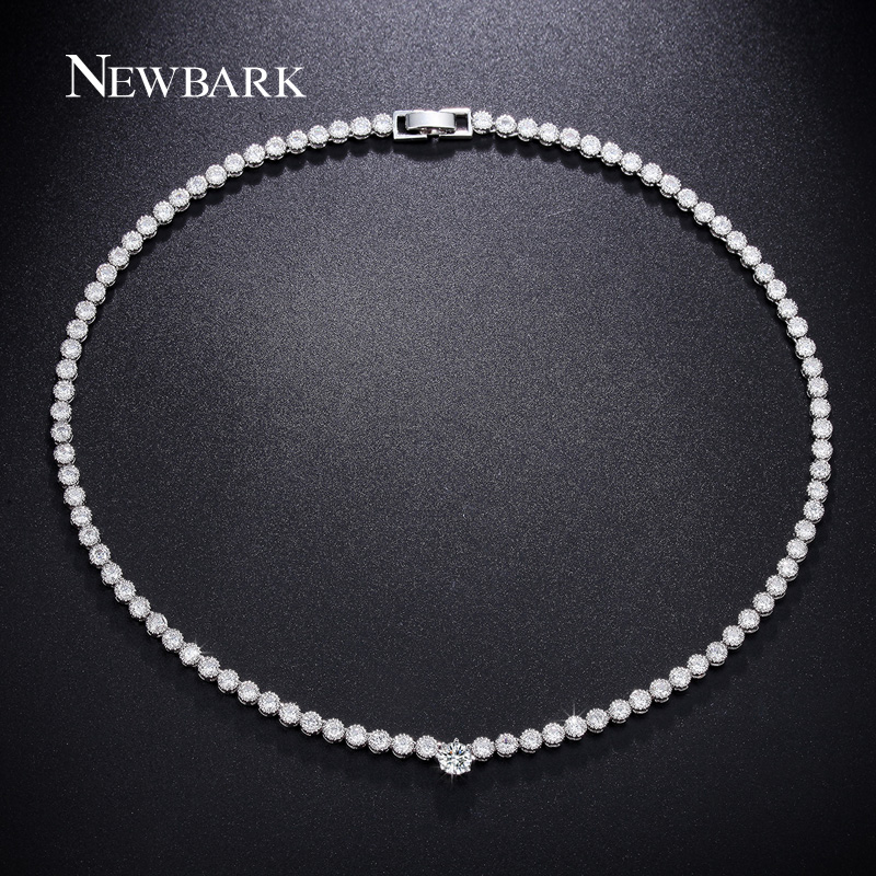 NEWBARK Charming Choker Necklace Fashion Brand Paved Cubic Zirconia Crystal Silver Color For Women Wedding Party Bijoux Jewelry charming multilayered geometric choker necklace for women