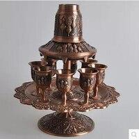 rare 12PCS/set antique copper zinc alloy metal wine decanter set drinks ware tableware set wine cup JJ018