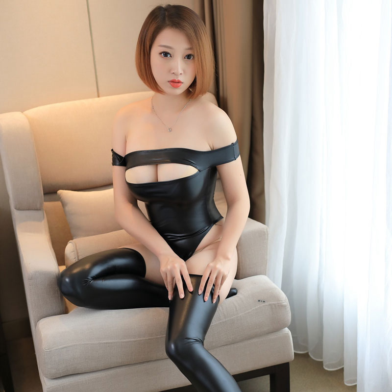 Buy Sexy Hollow PU Faux Leather Shiny High Cut Bodysuit Open Bust Bandage Erotic Leotard Latex Catsuit Sexy Lingerie F17