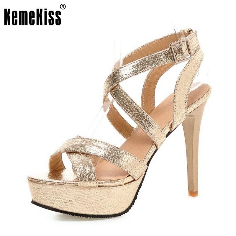 d78329702bf Mujeres moda Cruz Correa sandalias sexy plataforma zapatos mujer hebilla  talón color puro zapatos de tacón alto más el tamaño 32- 45 PC00053