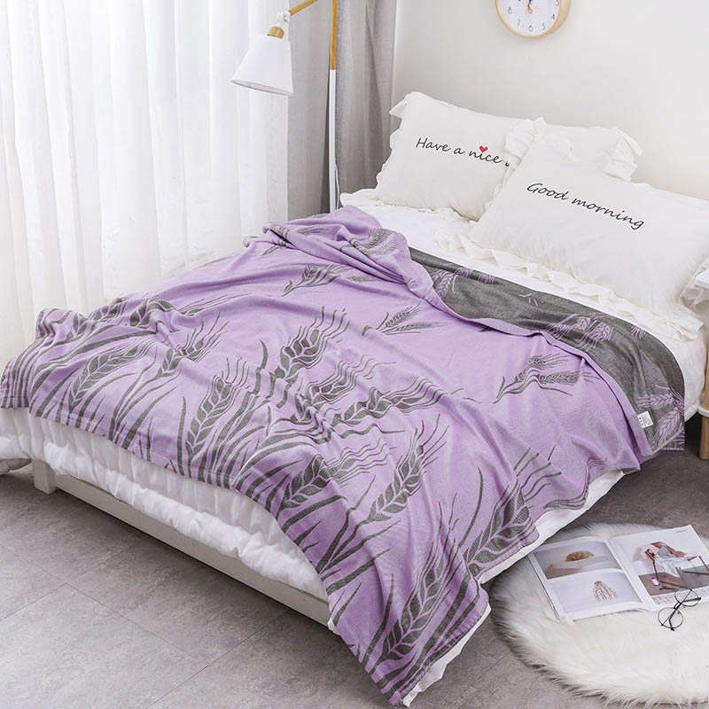 Хлопковое муслиновое летнее одеяло для кровати, дивана, дышащего стиля, мягкое одеяло для пикника, путешествий - Цвет: R